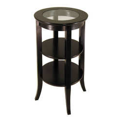 Winsome Wood - Winsome Wood Genoa Accent Table w/ Inset Glass & Two Shelves in Dark Espresso - Accent Table w/ Inset Glass & Two Shelves in Dark Espresso belongs to Genoa Collection by Winsome Wood Elegantly design with glass top, this round side table. Its flared leg, two shelf blends well with any style of room decor. Or match with same collection end table# 92218 & round coffee table# 92230 Accent Table (1)