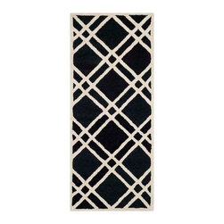 """Safavieh - Sophie Hand Tufted Rug, Black / Ivory 2'6"""" X 6' - Construction Method: Hand Tufted. Country of Origin: India. Care Instructions: Vacuum Regularly To Prevent Dust And Crumbs From Settling Into The Roots Of The Fibers. Avoid Direct And Continuous Exposure To Sunlight. Use Rug Protectors Under The Legs Of Heavy Furniture To Avoid Flattening Piles. Do Not Pull Loose Ends; Clip Them With Scissors To Remove. Turn Carpet Occasionally To Equalize Wear. Remove Spills Immediately. Bring classic style to your bedroom, living room, or home office with a richly-dimensional Safavieh Cambridge Rug. Artfully hand-tufted, these plush wool area rugs are crafted with plush and loop textures to highlight timeless motifs updated for today's homes in fashion colors."""