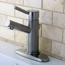 None - Straight Satin Nickel Bathroom Faucet - Modernize your bathroom with this contemporary satin-nickel faucet. This solid brass faucet features a smooth eye-catching finish as well as a drip-free hard disk ceramic cartridge. Install your faucet with ease since all hardware is included.