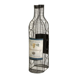 """IMAX - Moreau Wine Bottle Holder - The Moreau wine bottle holder stores wine bottles on their sides to perfectly preserve your ports and everyday wine indulgences by keeping the corks moist. Holds up to five bottles. Item Dimensions: (28.5""""h 11.25""""w x 7.25"""")"""