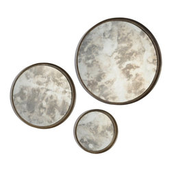 Ren-Wil - Shire 3 Piece Mirrors - 20 diam. in. Multicolor - MT1499 - Shop for Mirrors from Hayneedle.com! The Shire 3 Piece Mirrors 20 diam. in. evokes a lunar-inspired artistry with its beautiful design of round smoky glass and rusted silver-finished metal. This three-mirror set makes a stunning impression in any visual arrangement. Hanging hardware is included for easy installation.About Ren-WilFor over 45 years Ren-Wil has been creating quality wall decor mirrors and lighting that enhances any space. The company's talented team of in-house artists travels the world to find the newest materials fashions and trends and then applies them to their work. The team also uses multi-media designs for many of their pieces. Ren-Wil is the leader in Alternative Wall DEcor and is the market leader in Canada. They thrive on offering a fresh innovative product line and superior customer service.