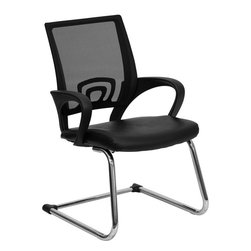 Flash Furniture - Flash Furniture Black Leather Office Side Chair with Black Mesh Back - This chair is a great side chair for the reception area or office side chair for guests. The breathable mesh back will keep you cool and comfortable. The chrome frame finish provides a sleek and modern look to coordinate with your decor.