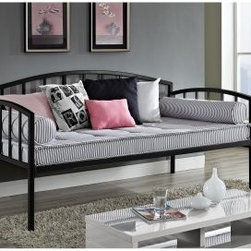 Ava Metal Daybed - The Ava Metal Daybed does more with a small bedroom's square footage, providing two-in-one functionality and the storage-efficient convenience of ample under-the-bed space. More than just a space saver, this contemporary metal daybed offers a clean-lined modern profile that's useful in any room. Available in your choice of color, this bed can accommodate a standard twin-sized mattress (sold separately).About Dorel Juvenile GroupBased in Foxboro, Massachusetts, Dorel Juvenile Group was founded in 1984. The company achieved instant success thanks to the internationally recognized Baby on Board sign; Dorel is also well-known for its Safety 1st campaign and comprehensive line of childproofing products. Dedicated to helping provide a safer world for children, Dorel Juvenile Group offers a diverse range of innovative products from a variety of powerful brands. With their enduring commitment to safety, convenience, and value, Dorel is a name you can trust.