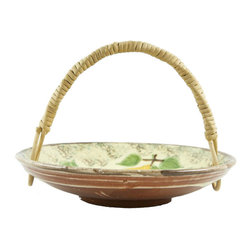 Lavish Shoestring - Consigned Spanish Glazed Pottery Fruit Basket - This is a vintage one-of-a-kind item.
