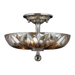 "Worldwide Lighting - Mansfield 4 Light Chrome Finish & Golden Teak Crystal 16"" Semi-Flush Mount Light - This stunning 4-light ceiling light only uses the best quality material and workmanship ensuring a beautiful heirloom quality piece. Featuring a radiant chrome finish and finely cut premium grade golden teak (translucent champagne color) crystals with a lead content of 30%, this elegant ceiling light will give any room sparkle and glamour. Worldwide Lighting Corporation is a privately owned manufacturer of high quality crystal chandeliers, pendants, surface mounts, sconces and custom decorative lighting products for the residential, hospitality and commercial building markets. Our high quality crystals meet all standards of perfection, possessing lead oxide of 30% that is above industry standards and can be seen in prestigious homes, hotels, restaurants, casinos, and churches across the country. Our mission is to enhance your lighting needs with exceptional quality fixtures at a reasonable price."