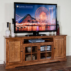 """Sunny Designs - Sedona 78"""" TV Console - Sedona 78"""" TV Console; Distressed birch (DC) solids & veneers; Natural slates; Weight: 199 lbs; Dimensions:78'x18""""x33.5""""H"""