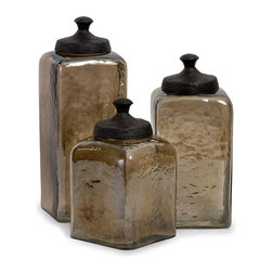 Imax Worldwide Home - Square Brown Luster Canisters - Set of 3 - Attractive square hammered brown luster glass canisters with metal lids. Containers-Glass. 8.5-10.25-13 in. H x 4.75-4.75-4.75 in. W x 4.75-4.75-4.75 in. D. Food safe. 92% Glass, 8% Aluminum