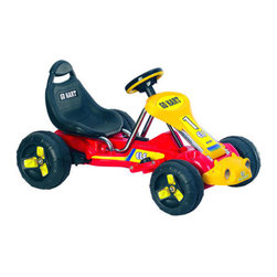 """Lil' Rider - Racer Battery Powered Go - Kart in Red - Kids on-the-go will have a blast with this incredible Lil' Rider Red Racer Battery Operated Go- Kart! From its high-backed bucket seat to its low-riding comfort, this baby is packed with delightful touches. Kids press the peddle on the floor to get goin', and turn the steering wheel to make sharp turns. Kids can ride the Lil' Rider Go-Kart on hard surfaces and grass! Features: -Toy. -Material: Plastic and Carbon Steel. -Colors: Red. -Bucket seat with high back. -Washable tires. -2 MPH. -Sealed 6V 10Ah battery. -Battery operated. -For 3 - 7 years child Age. -Max weight: 55 lbs. -Dimensions: 20"""" H x 25.6"""" W x 35"""" D."""