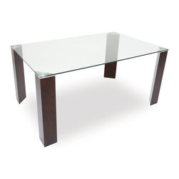 Bryght - Eric Glass Light Cappuccino Dining Table - The Eric glass dining table, with its uniquely designed thick triangular legs exudes strength and stability, while its beautiful tempered glass top lends it a modern minimalist feel
