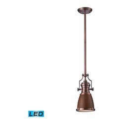 Elk Lighting - EL-66713-1-LED Chadwick LED 1-Light Pendant in Burl Wood and Antique Copper - The Chadwick Collection reflects the beauty of hand-turned craftsmanship inspired by early 20th century lighting and antiques that have surpassed the test of time. This Robust Collection features detailing appropriate for classic or transitional decors. Finishes include polished nickel, satin nickel, antique copper and oiled bronze.�Various diffuser options, including glass, metal, and wood printed metal shades, allow for adaptability to almost any design scheme. - LED offering up to 800 lumens (60 watt equivalent) with full range dimming. Includes an easily replaceable LED bulb (120V).