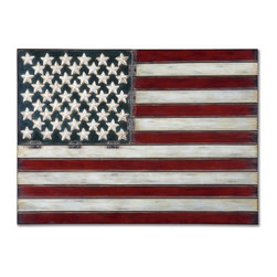 Grace Feyock - Grace Feyock American Flag Wall Art X-08431 - Made of hand forged metal, this wall art is finished in aged red, white and blue with black tipping.