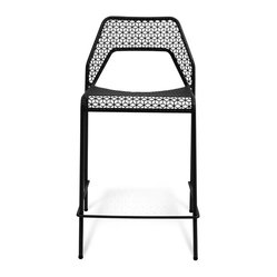 "Blu Dot - ""Blu Dot Hot Mesh Counterstool, Black"" - ""Chipper stool seeks derrieres for at home enjoyment or cafe canoodling. Available in six finishes: black, green, humble red, natural yellow, simple blue and off-white. Stackable and suitable for use indoors or out. Also available as a chair or counterstool."""