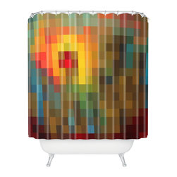 DENY Designs - Madart Inc. Glorious Colors Shower Curtain - Color pixelation is a fresh, contemporary design trend, conjuring associations with computer screens and designer color swatches. The adjacent squares create a surprisingly gentle gradation of color, giving this rainbow-pixelated shower curtain a soft, hazy glow. When you open the curtain and the fabric accordions together, the colors ripple beautifully as though reflected in water.