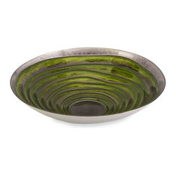 Green Sea Swirls Glass Bowl - A swirling green sea is the backdrop to this glorious glass serving bowl. It is food safe and perfect for serving a favorite dish, or gorgeous on its own displayed on a mantel or tabletop.