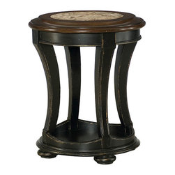 Hammary - Hammary Dorset Round End Table in Black with Pretzel Brown - Round End Table in Black with Pretzel Brown Belongs to Dorset Collection by Hammary