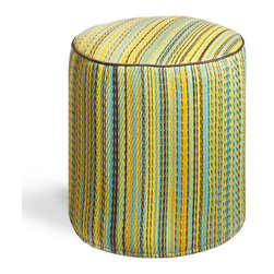 Fab Habitat - Cancun Lemon/Apple Green Pouf - Playful colors really pop on this striped, eco-chic pouf! With this artisan made, easy to clean pouf in your home, you'll always have a modern seating choice, foot stool, or tiny table on offer. This pouf is handmade from recycled materials, and is available in a variety of vibrant color combinations.