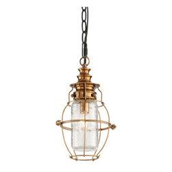 "Troy Lighting - Troy Lighting F3577 Little Harbor 1 Light 13"" Solid Brass Outdoor Lantern Pendan - Features:"