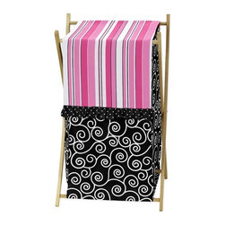 Sweet Jojo Designs - Madison Hamper - The Madison laundry hamper will help complete the look of your Sweet Jojo Designs room. This adorable laundry clothes hamper includes a wooden frame, mesh liner and fabric cover. The removable hamper body is secured to the wooden frame with corner loops and Velcro. The wooden stand folds flat for space-saving storage and the removable mesh liner is great for toting laundry. Dimensions: 26.5in. x 15.5in. x 16in.