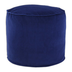"""Chooty - Chooty Cannes Lapis Simply Soft Collection 20"""" Round x 17"""" High Corded Beads Has - Insert EPS Styrofoam Beads, Fabric Content Pile 100 Cotton, Color Navy , Ottoman 1"""
