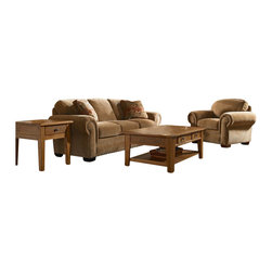 Broyhill - Broyhill Cambridge Queen Sleeper and Chair Set with Attic Heirlooms Wood Stain - Broyhill - Sofa Sets - 50547Q150540Q1Set -    Broyhill Cambridge Brown Chair with Attic Heirlooms Wood Stain (included quantity: 1) About This Product: