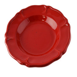 Vita Casalinga - Scalloped Terra-Cotta Pasta Bowl - Present your pasta in one of these deep red, terra-cotta pasta bowls. Linguini, ravioli, farfalle or rigatoni, you pick the pasta style, this high-edged scalloped dish will do it justice and make eating less messy and more enjoyable!