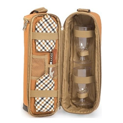 "Picnic Plus - Wine Duffle, Brown - Picnic Plus Wine Bottle Duffel Includes Wine Glasses, Opener, Napkins, Brown. Color/Design: Brown; Classic carrier for your merlot or Chablis; Durable 600D polyester exterior; Fully insulated tote holds 1 bottle and opens to reveal 2 acrylic wine goblets, cotton napkins and a wooden handle corkscrew opener inside; Adjustable shoulder strap for easy transporting. Dimensions: 8""W x 5""D x 15""H"