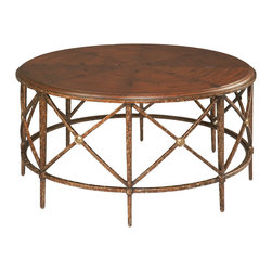 Sherrill Occasional - Sherrill Occasional Round Cocktail Table M50-80 - Beautiful artisan crafted wrought iron cocktail table in an aged bronze finish with a heavily antiqued herringbone patterned walnut top. Antique brass medallion on x-brace and circular stretcher base.