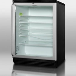 """Summit - SCR600BLSH 24"""" 5.5 cu. ft Compact Glass Door Commercially Approved Refrigerator - At just 24 wide the SCR600BLSH contains a generous 55 cuft storage capacity The jet black cabinet is fitted with a solid glass door with a refined aluminum trim for a clear display of stored products A full-length stainless steel handle in a curved t..."""