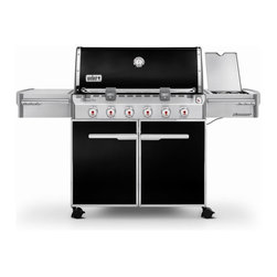 Weber - Gas Grill: Weber Summit E-620 Gas Grill - Shop for Grills from Hayneedle.com! The Weber Summit E-620 Gas Grill is the pinnacle of grilling. With six stainless steel burners a flush-mounted side burner and two Grill Out handle lights this grill can manage any cooking task anytime. Plus a handy push-button LED tank scale lets you know when you need to refuel. Features: 6 stainless steel burners 60 000 BTU-per-hour input 12 000 BTU-per-hour input side burner Snap-Jet individual burner ignite system 9.5mm-diameter stainless steel cooking grates Stainless steel Flavorizer bars Black porcelain-enamel shroud with polished handle and trim Center-mounted thermometer Accent-colored cast aluminum end caps Primary cooking area: 693 square inches Warming rack area: 145 square inches Total cooking area: 838 square inches Enclosed cart with black painted steel doors stainless steel handles and accent-colored side and rear panels Accent-colored painted steel frame 2 Grill Out handle lights for after-dark grilling 6 tool hooks Enclosed tank storage and precision fuel gauge 2 heavy-duty locking casters; 2 heavy-duty swivel casters Includes Weber cookbook Weber model number LP 7321001 Dimensions with the lid open: 74W x 30D x 57H inches About Weber GrillsWeber-Stephen Products Co. headquartered in Palatine Ill. is the premier manufacturer of charcoal and gas grills grilling accessories and other outdoor room products. A family-owned business for more than 50 years Weber has grown to be a leading seller of outdoor grills worldwide.