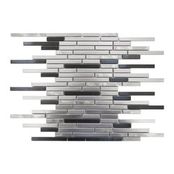 Eden Mosaic Tile - Thin Stainless Brick Mosaic - Silver and Black Pack (11 Sheets) - This ultra modern tile is comprised of various sizes of stainless steel tile in silver and dark pewter colors. There are two types of brush patterns on the stainless steel the first being a straight snow matte linear brush pattern and the second being a circular brushed pattern. The different steel brush patterns appear to give the stainless steel a different color because of the way the light reflects off the tile when in fact both are a regular stainless steel color. The result is a visually stunning array of colors and textures which will surely make your wall pop. Use this steel and glass mixed mosaic on kitchen backsplashes bathroom walls fireplaces and even accent walls. The tiles in this sheet are mounted on a nylon mesh which allows for an easy installation. Imported.