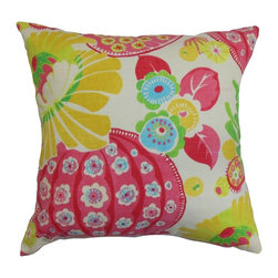 """The Pillow Collection - Ifor Floral Pillow Pink 20"""" x 20"""" - Decorate your living space with an intricate floral throw pillow. This accent pillow brings a cheerful vibe to your interiors with its splash of bright colors like yellow, pink, blue, green and white. If you want to reinvent your decor style in time for spring and summer, this square pillow will definitely do the trick. This 20"""" pillow is made from 100% plush and soft cotton fabric. Hidden zipper closure for easy cover removal.  Knife edge finish on all four sides.  Reversible pillow with the same fabric on the back side.  Spot cleaning suggested."""