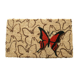 Entryways - Orange Butterfly Hand Woven Coconut Fiber Doormat - Designed by an artist, this distinctive mat is a work of art that will add a welcoming touch to any home. It is from Entryways' handmade collection and meets the industry's highest standards. This decorative mat is handsomely hand woven and hand stenciled.