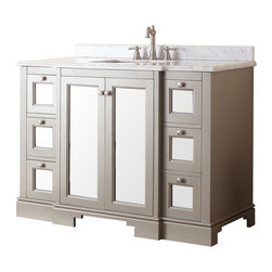 Avanity - Avanity NEWPORT-VS48-FG Newport 48-in. Single Bathroom Vanity Multicolor - NEWPO - Shop for Bathroom from Hayneedle.com! The Avanity Newport 48 in. Single Bathroom Vanity - French Gray luxuriates in well-lit bathrooms playing perfectly with natural and electric lighting. Its massive frame is constructed from fine poplar hardwood solids and features a handsome French gray finish. The vanity comes with a double-door cabinet at its heart outfitted with an adjustable shelf. Six soft-close drawers are also built into the design. Each door and drawer front comes with a mirrored frontpiece and a knob-pull. The countertop is made from beautiful white marble and comes pre-drilled for a three-hole 8-inch widespread faucet assembly. A rectangular undermount sink basin is included made from white vitreous china.About Avanity CorporationAvanity's goal has always been to provide the public with the best products possible at the fairest prices. To this end their customer service style is about listening to their customer not just hearing them. Avanity is confident in all of their products and provides a one-year manufacturer's warranty to prove it. Avanity also takes note of increasing market trends to stay ahead of the game and provide the most cutting-edge products available.