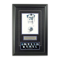 """Heritage Sports Art - Original art of the NFL 1962 Dallas Cowboys uniform - This beautifully framed piece features an original piece of watercolor artwork glass-framed in an attractive two inch wide black resin frame with a double mat. The outer dimensions of the framed piece are approximately 17"""" wide x 24.5"""" high, although the exact size will vary according to the size of the original piece of art. At the core of the framed piece is the actual piece of original artwork as painted by the artist on textured 100% rag, water-marked watercolor paper. In many cases the original artwork has handwritten notes in pencil from the artist. Simply put, this is beautiful, one-of-a-kind artwork. The outer mat is a rich textured black acid-free mat with a decorative inset white v-groove, while the inner mat is a complimentary colored acid-free mat reflecting one of the team's primary colors. The image of this framed piece shows the mat color that we use (Medium Blue). Beneath the artwork is a silver plate with black text describing the original artwork. The text for this piece will read: This original, one-of-a-kind watercolor painting of the 1962 Dallas Cowboys uniform is the original artwork that was used in the creation of this Dallas Cowboys uniform evolution print and tens of thousands of other Dallas Cowboys products that have been sold across North America. This original piece of art was painted by artist Tino Paolini for Maple Leaf Productions Ltd. Beneath the silver plate is a 3"""" x 9"""" reproduction of a well known, best-selling print that celebrates the history of the team. The print beautifully illustrates the chronological evolution of the team's uniform and shows you how the original art was used in the creation of this print. If you look closely, you will see that the print features the actual artwork being offered for sale. The piece is framed with an extremely high quality framing glass. We have used this glass style for many years with excellent results. We package"""