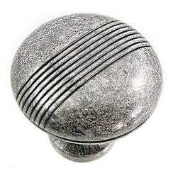"MNG Designer - MNG 13211 Striped Knob - 1 1/2"" Striped Knob - Distressed Antique Silver"