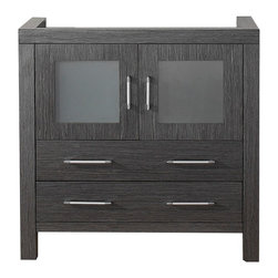 VIRTU - Virtu USA Dior 36-inch Zebra Grey Single Sink Cabinet Only Bathroom Vanity - Virtu USA 36-inch Dior single sink vanity is the essence of beauty with clean lines and quality material. This Dior comes with two soft closing doors and drawers,and satin nickel hardware with chrome highlights handles.