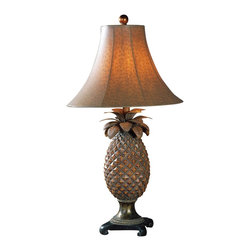 """Uttermost - Uttermost Anana Table Lamp 16 x 16 x 31"""", Brown - This timeless pineapple motif is presented in hand rubbed brown glaze with atlantis bronze accents. The round bell shade is finished in a brown ostrich texture.Designer: Carolyn KinderWattage: 100WDimensions: 16"""" depth by 16"""" width by 31"""" heightMaterial: resin/metal"""
