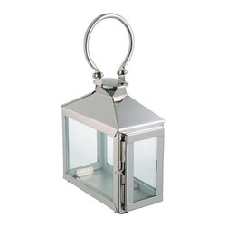 Kathy Kuo Home - Zarina Modern Polished Silver Nickel Candle Lantern - Grab hold of this miniature masterpiece. This modern candle lantern's refined beauty may feel delicate, but it's stalwart and durable. Sitting pretty inside or dazzling outdoors, its alluring light will grow.