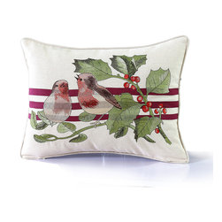 14 Karat Home - Birds Holly Pillow - A combination of print and embroidery is beautifully detailed in a faux linen fabric.  Perfect to accessorize your home for a holiday celebration.