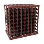 Double Deep Tasting Table Wine Rack Kit in Redwood with Cherry Stain + Satin Fin - The quintessential wine cellar island; this wooden wine rack is a perfect way to create discrete wine storage in open floor space. With an emphasis on customization, install LEDs or add a culinary grade Butcher's Block top to create intimate wine tasting settings. We build this rack to our industry leading standards and your satisfaction is guaranteed.