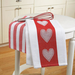 Valentine Oversize Kitchen Towels, Set of 2 - Plan on staying in on Valentine's Day? Whip up a gourmet meal in the kitchen and keep it festive with heart dish towels.