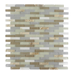 "Nexus Shabby Chic Mini Brick - Nexus Shabby Chic Mini Brick Glass + Stone Tile The glass and stone combination creates a beautifully multidimensional effect. It is great to install in kitchen back splashes, and any decorated spot in your home. The mesh backing not only simplifies installation, it also allows the tiles to be separated which adds to their design flexibility. Chip Size: 3/8"" x 1 5/8"" Color: Ivory, Light Gray, Camel Brown, White and Beige Material: Glass, White Thassos and Light Emperidor Finish: Polished and Frosted Sold by the Sheet - each sheet measures 10""x11 1/2""(0.8 sq. ft.) Thickness: 8mm"