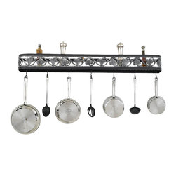 Hi-Lite MFG - Sandra Lee Wall Rack in Black Leather Finish w Accent Silver - Includes six pot rack hooks. Accessories not included. Made from steel. 46 in. L x 5 in. HHi-Lite achieved success through attention to detail and stubbornness to only manufacturer the highest quality product. Hi-Lite has built its reputation as a premier lighting manufacturer by using only the finest raw materials, inspirational designs, and unparalleled service. This allows us great flexibility with our designs as well as offering you the unique ability to have your custom designs brought to Light.