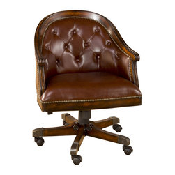 Hillsdale Furniture - Hillsdale Harding Game Chair in Lightly Distressed Burnished Cherry (Set of 2) - The Harding Game Chair by Hillsdale Furniture is a distinguished addition to any home. The chair displays many fine features found in collections costing twice the price. The rich burnished cherry finish has a lightly distressed, warm, glowing appeal. The chairs are covered in top grain brown leather with a button tuck design and accented with a stately nail head trim. The game chairs feature a full 360 degree swivel, locking tilt / riser mechanisms and heavy duty casters for increased comfort and mobility. All of these great features make this one gamble that is a sure thing.