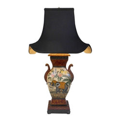 "Oriental Furnishings - 32""H Asian Raj Ceramic Elephant Table Lamp With Pagoda Shade - This 32"" high lamp is one of our favorites.  An Asian hand painted table lamp has a choice of pagoda shade colors. Contrasting black/gold shade or beige fabric shade that adds contrast and an Asian touch to a traditional Empire designed ceramic body. This Raj lamp has an East Indian elephant design that makes a handsome addition to any room; imagine them on night stands or end tables. It has a great amount of detail with wonderful shade that makes a colorful statement in any room. Imagine a pair on your buffet or hall table."