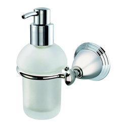 Geesa - Wall Mounted Frosted Glass Soap Dispenser with Chrome Mounting - Classic style wall mounted round hand soap dispenser.