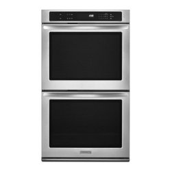 "KitchenAid - Architect II Series KEBK276BSS 27"" Double Wall Oven with 4.3 cu. ft. per Oven  S - KitchenAid ovens allow you to clearly see all racks from edge to edge without opening the oven door Keeping the door closed helps to minimize temperature swings and promotes even baking"