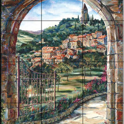 The Tile Mural Store (USA) - Tile Mural - Golden Gate To Umbria - Kitchen Backsplash Ideas - This beautiful artwork by Karen Stene has been digitally reproduced for tiles and depicts a peaceful hillside scene as viewed through an archway.  This garden tile mural would be perfect as part of your kitchen backsplash tile project or your tub and shower surround bathroom tile project. Garden images on tiles add a unique element to your tiling project and are a great kitchen backsplash idea. Use a garden scene tile mural for a wall tile project in any room in your home where you want to add interesting wall tile.