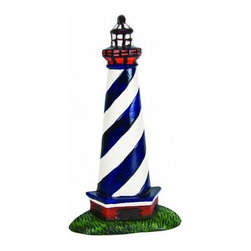 "Handcrafted Nautical Decor - Painted Lighthouse Door Stop 10"" - Decorative Light House - The Ceramic Lighthouse Door Stop 10"" allows you to show your affinity for sea life and keep your door propped open. Beautifully hand painted, this lighthouse has black stripes wrapping around it with red and white accents. In addition, it is the perfect nautical gift for a relative, friend, or coworker. This door stop is fully functional and a great gift for the true nautical enthusiast in your life."