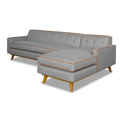 Apt2B.com - Clinton 2Pc Sectional Grey, Mountain Grey/Sweet Potato, Chaise on Right (as Show - Style for days! This mid-century style sofa is great for a smaller space and will be the talk of all of your friends with a solid wood base and piping that pops